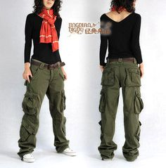 2013 women's overalls cargo pants casual multi pocket hip hop pants straight trousers thick plus size-inPants  Capris from Apparel  Accessories on Aliexpress.com $40.00