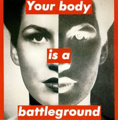 Barbara Kruger...conceptual artist that rephotographs images from the mass media and captions them with slogans that challenges conventional thinking..LOVE IT