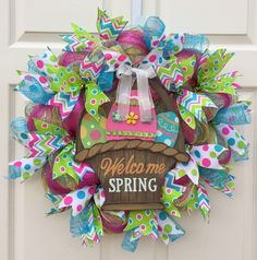 Welcome Spring Wreath, Spring Wreath, Easter Wreath, Easter Basket Wreath, Deco Mesh Wreath by WelcomeHomeCreative on Etsy https://www.etsy.com/listing/227234097/welcome-spring-wreath-spring-wreath