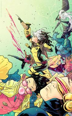 Storm // Beast // Gambit //Rogue // Jubilee // Cyclops // Wolverine // Jean Grey // By: Russell Dauterman // X-Men Comic Book Characters, Comic Book Heroes, Marvel Characters, Comic Character, Comic Books Art, Comic Art, Ms Marvel, Marvel Comics Art, Marvel Heroes