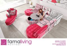 Pink living rooms, including pastel pink decor, blush pink living rooms, hot pink room ideas, plus pink furniture and pink living room accessories. Pink Ottoman, Pink Sofa, Pink Furniture, Classic Furniture, Hot Pink Room, Blush Pink Living Room, Big Sofas, Pink Cushions, Living Room Accessories