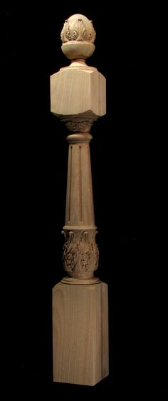 Wood Carved Acanthus - Newel Post