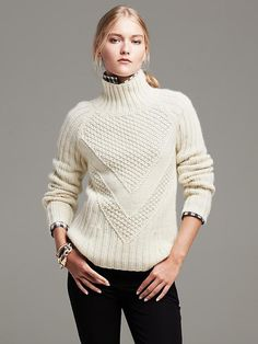 Popcorn Stitch Turtleneck Pullover Product Image