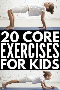20 Super Fun Core Exercises for Kids Exercises for Kids Kids Yoga Kids Health Gross Motor Activities, Gross Motor Skills, Classroom Activities, Movement Activities, Physical Activities For Kids, Health Activities, Fun Activities, Yoga For Kids, Exercise For Kids