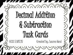 This is my first set of task cards! I needed them to help my students practice adding and subtracting decimals. They aren't the fanciest, but they . Math Classroom, Classroom Helpers, Classroom Ideas, Algebra Lessons, Fifth Grade Math, Math Groups, Math Intervention, Math Fractions, Addition And Subtraction