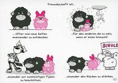 Olaf das Grummelschaf und Poppy Postkarte mit lustigen Sprüchen - Freundschaft ist Postkarten Freundschaft