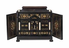 An Italian Ebony Ivory And Marble-Mounted Table Cabinet  Late 17th/Early 18th Century