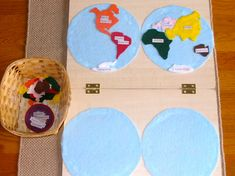 If you'd like to make your own continent map for home or school, it's easier than you'd think! (Photo from http://www.unitedmontessori.com/blog/2011/4/12/geography-planisphere-map.html  Roundup post from http://livingmontessorinow.com/2011/04/18/activity-of-week-continent-map-work/).