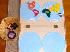 Filzbasteln - Kontinente können von den Kindern so selbst an den richtigen Platz gelegt und beschriftet werden. Steckpuzzle geben ja doch viel vor...