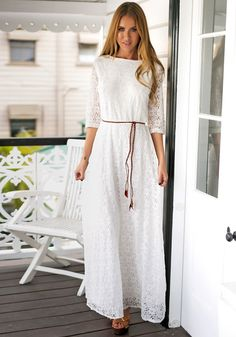 Add a stop-and-stare piece to your wardrobe by getting this super sweet white floral lace maxi dress. (sp)