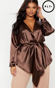 8108a48a87b20 Plus Chocolate Brown Satin Tie Waist Blouse Big Girl Fashion