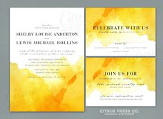 **like this amount of watercolor  --  Yellow Watercolor Wedding Invitation OR DIY PDF Printable