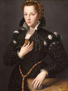 """Agnolo Bronzino (or A. Portrait of Lucrezia de' Medici oil on panel. Collection: North Carolina Museum of Art SEE """"Lucrezia de' Medici"""" by A."""