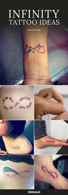 We love infinity tattoos. Quotes, images, and a combination of both can be infused into the loop.