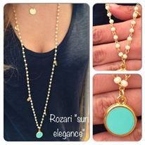 "Rozario necklace ""Sun elegance"" nude with turqoise"