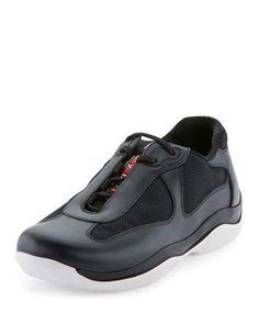 X34AS Prada America's Cup Sneaker, Nero/Bianco