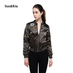 Susi&Rita Military Winter Jacket Women Embroidered Patches Bomber Jacket 2017 Army Green Thick Coat Ladies Outwear Casaco #Affiliate