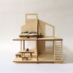 wooden dolls house and its furniture vintage modern dollhouse furniture 1200 etsy