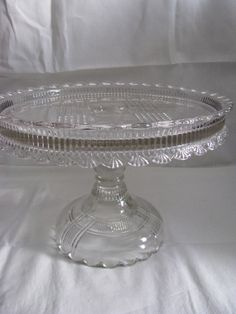 """EAPG """"QUAKER LADY""""  aka """"Scalloped Prism Band"""" pattern cake stand made by Dalzell Brothers and Gilmore circa 1887, 9 7/8""""D x 7""""H."""