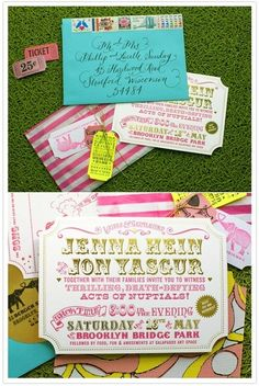 How excellent are these vintage carnival wedding invitations by Thoughtful Day ? These (along with the wedding itself, of course) were feat. Invitation Fete, Carnival Invitations, Carnival Themes, Circus Theme, Wedding Invitation Design, Wedding Stationary, Circus Party, Invites, Circus Circus