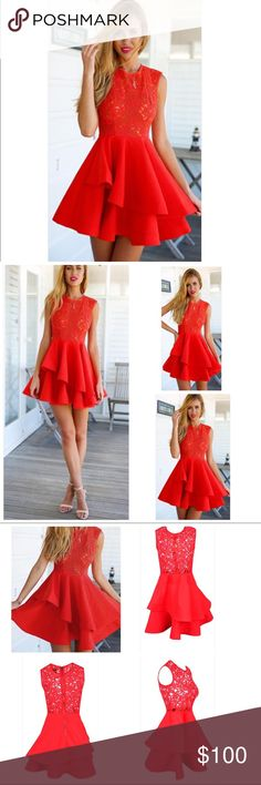 """L'atiste """"ahead of the curve"""" tiered dress Ahead of the Curves Dress Red Sheer Lace Sleeveless Scoop Neck Tiered Ruffle Skater Circle A Line Flare Mini Dress. Perfect for date night or a cocktail party. The dress features a sleeveless sheer lace bodice with a scoop neckline and a ruffled, tiered skater skirt that creates an ultra-girly silhouette. Worn once. Best fits sizes 6-8. If you love sherri hill, jovani, bebe, windsor, or dolce vita you will love this fiery dress! L'Atiste by Amy…"""