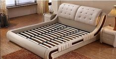 Bedroom Furniture Set Modern Leather Bed (1 Bed, 2 Night Stand & 1 Mattress)-Beds-NOFRAN Electronics & Furnitures