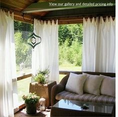 outdoor curtains. Love this look. My mom has had this in her porch for years!! Now I just need to get Will to help me put them up! That's another challenge!!
