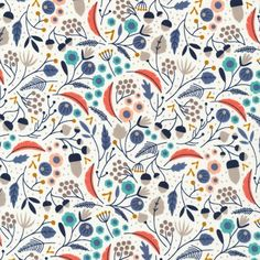 Organic Fabric - WildWood by Elizabeth Olwen - Forest Floor Ivory- for Fabric, Organic Quilt Fabric, Floral Fabric Textile Patterns, Textile Design, Print Patterns, Textiles, Motif Floral, Floral Fabric, Stoff Design, Design Graphique, Pattern Illustration