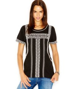 Lucky Brand Short-Sleeve Embroidered T-Shirt cotton lucky black/white 23.99 Sale thru 11/24