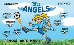 Blue Angels B54556  digitally printed vinyl soccer sports team banner. Made in the USA and shipped fast by BannersUSA.  You can easily create a similar banner using our Live Designer where you can manipulate ALL of the elements of ANY template.  You can change colors, add/change/remove text and graphics and resize the elements of your design, making it completely your own creation.
