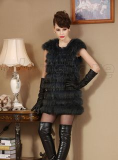 2013 Latest Style Raccoon Dag Fur Overcoat for Women, Slim Designed Fur Waistcoat with Medium and Long Length at Amazing Price
