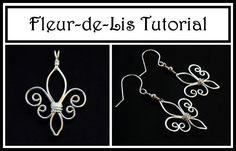 Jewelry Tutorial : How to Make Fleur de Lis Pendant or Earrings : Wire W...