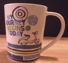 Starbucks Mug My Journey Begins Today Vespa 2008 14oz Piaggio Mint #Starbucks