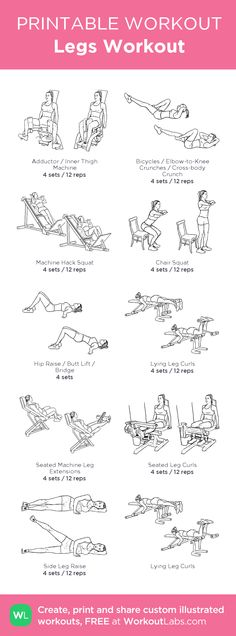 Legs Workout – my custom workout created at WorkoutLabs.com • Click through to download as printable PDF! #customworkout