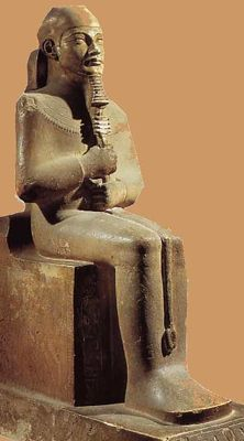 Ptah was the main god of Memphis, the capital of Egypt for much of its history. He was the god of artists, craftsmen and masons. The name of his temple in Egyptian was Hwt-ka-Ptah, which the Greeks took as the name of the country - Hikuptah became Aiguptos, or Egypt, which is what we call it today.