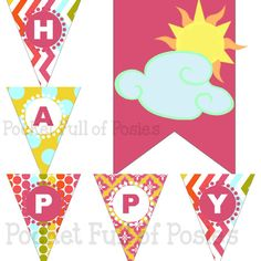 You Are My Sunshine Birthday Party Pack Package Digital Download #Sunshine #YouAreMySunshine #Party #theme #pack #package #yellow #pink #Sun #Digital #Download #DIY #Printable #PocketFullOfPosies Centerpiece Banner Cupcake Topper Wrappers Welcome Sign Party Hat Straw Flags