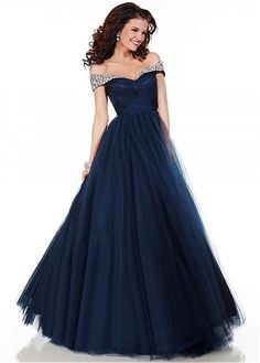 Ball-Gown Sweetheart Off-the-Shoulder Floor-Length Tulle Prom Dress With Ruffle Beading A Line Prom Dresses, Tulle Prom Dress, Formal Evening Dresses, Ball Dresses, Evening Gowns, Ball Gowns, Evening Party, Dresses 2016, Prom Gowns