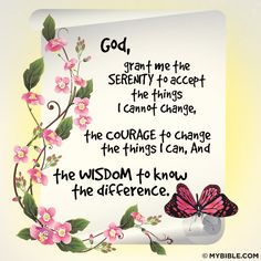 God, grant me the SERENITY to accept the things I cannot change, the COURAGE to change the things I can, And the WISDOM to know the difference. God Is Good, Life Is Good, Courage To Change, Way To Heaven, Serenity Prayer, Little Things Quotes, Think On, Thank You God, Favorite Bible Verses