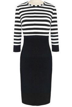 Black White Striped Pencil Dress #style #dress #fashion