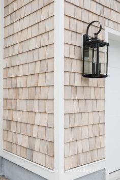 The Home Exterior Reveal! Siding Colors, Exterior House Colors, Exterior Design, Exterior Paint, Exterior House Lights, Cedar Shingle Siding, Cedar Shake Siding, Vinyl Shake Siding, Cedar Shingles