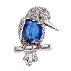 "//""Kingfisher"" Blue Sapphire Emerald Diamond Platinum Pin"