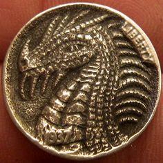 GORDON RAISTRICK HOBO NICKEL - DRAGON - 1937 BUFFALO NICKEL Hobo Nickel, Metal Working, Buffalo, Coins, Dragon, Carving, Money, Projects, Art