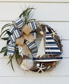 Handmade Sailboat Wreath, Ocean Wreath, Beach House Wreath, Lake House Wreath…