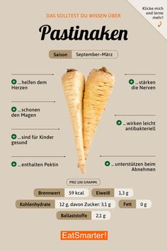 How healthy are parsnips? - You should know this about parsnips! Healthy Food List, Health And Nutrition, Healthy Eating, Nutrition Tips, Potato Nutrition, Complete Nutrition, Vegetable Nutrition, Holistic Nutrition, Proper Nutrition