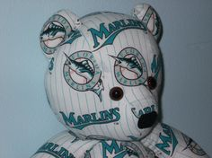 Teddy Bear Marlins Florida Miami Baseball MLB Teal White by DoOver, $35.00