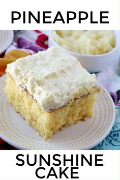 The frosting on this Pineapple Sunshine Cake is to die for good. This cake recipe is so easy to make and all your family and friends are going to love it. Cake Mix Desserts, Cake Mix Recipes, Easy Desserts, Baking Recipes, Hawaii Desserts, Non Chocolate Desserts, Sheet Cake Recipes, Sheet Cakes, Sweet Desserts