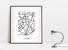 Lisbon Abstract Map - Black and White Art Print - Digital Download