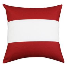 """Nile 17"""" x 17"""" Poppy Pillow in Red and White   Nebraska Furniture Mart"""