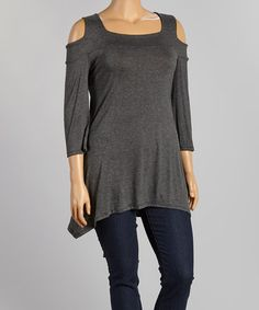 Look what I found on #zulily! Charcoal Cutout Sidetail Top - Plus #zulilyfinds