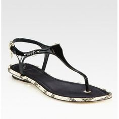 B Brian Atwood Patent Leather and Snake-Print Leather Slingback Thong Sandals